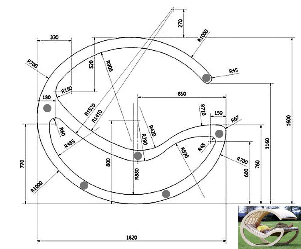 Размеры боковины качалки-лежака с тентом