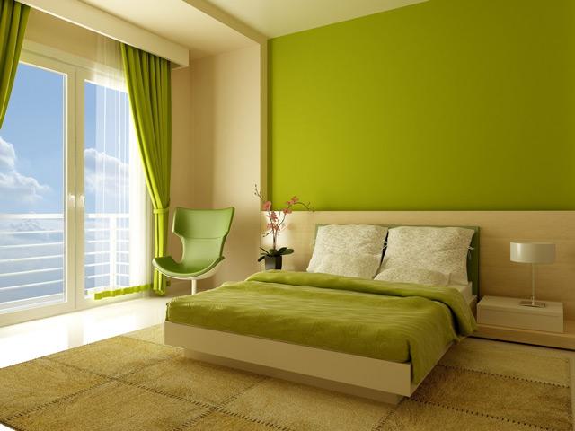 Обои зелёного цвета в спальне