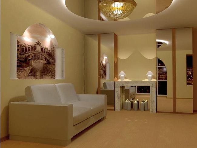 Ниша в стене служит декоративным элементом, в котором можно даже разместить картину