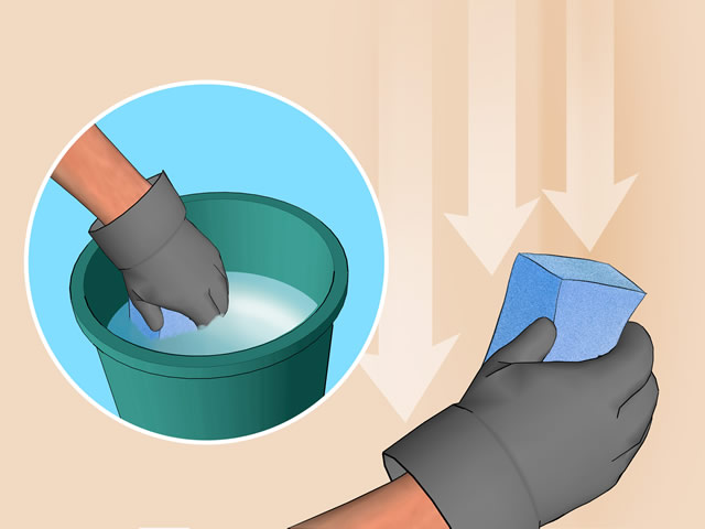 Смыть побелку со стен можно при помощи обычной губки и воды