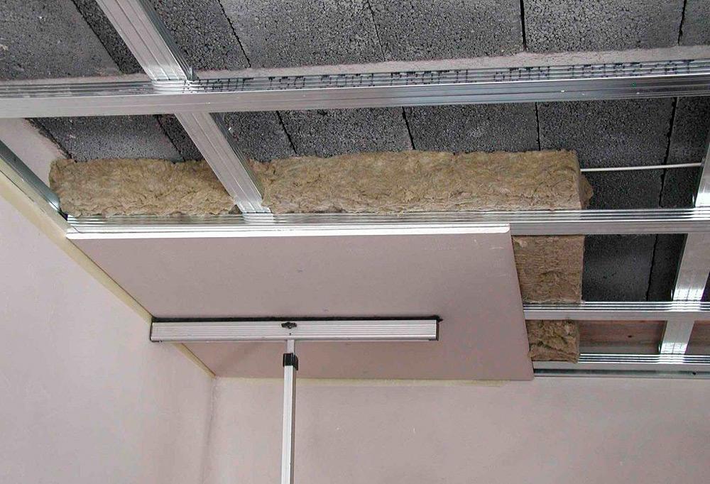 Каркас для потолка из гипсокартона с утеплителем