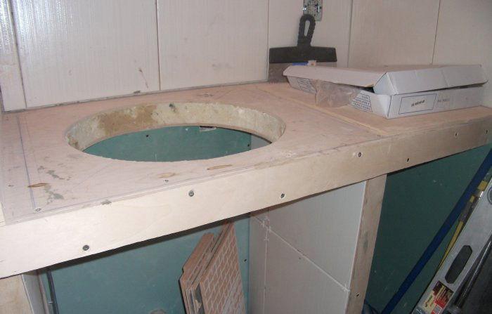 Гипсокартонная столешница под раковину