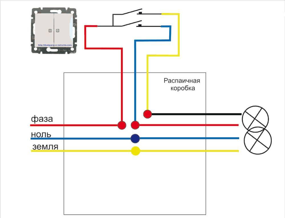 Как подключить свет и выключатель схема подключения