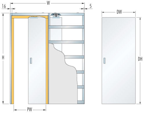 Схема установки выдвижной конструкции