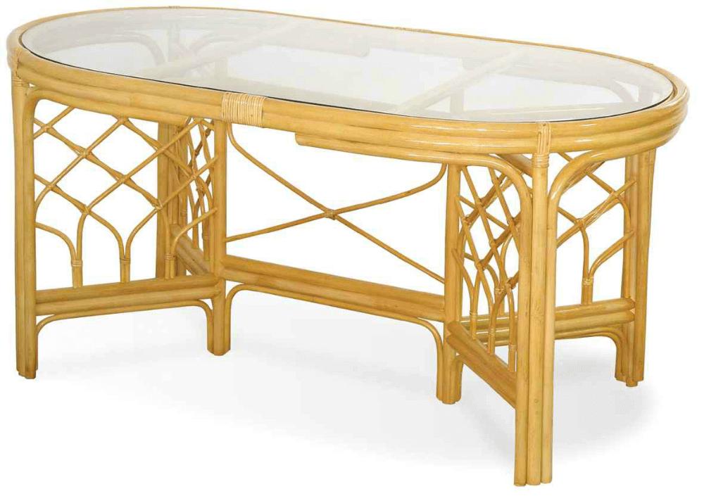 Кухонный стол из ротанга и стекла