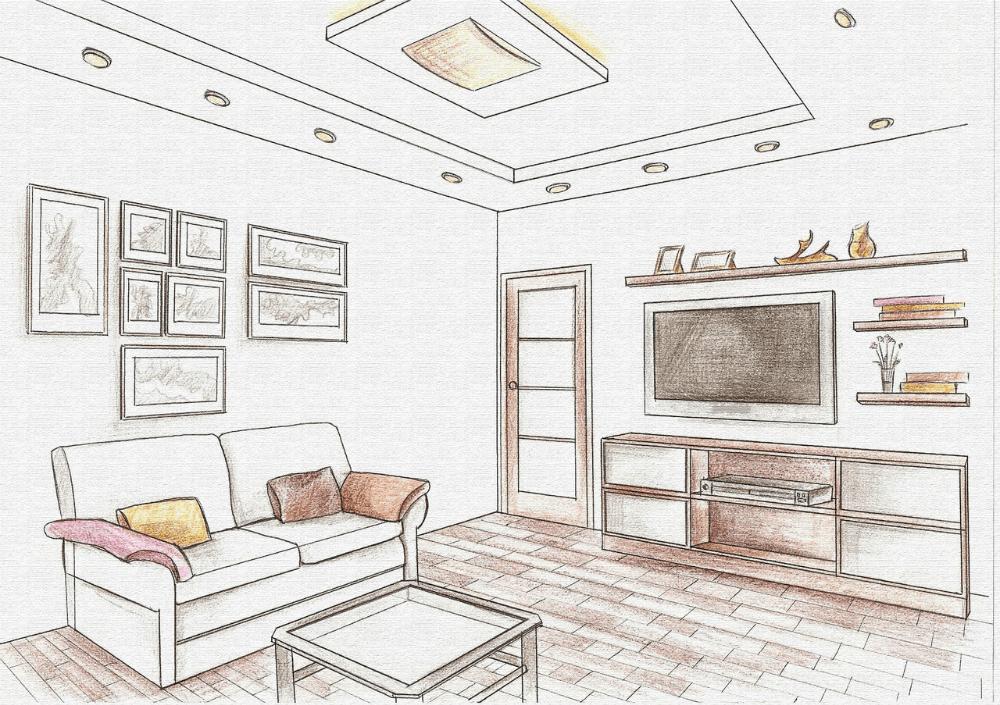 Нарисованная схема комнаты