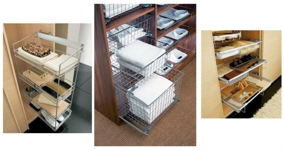 Выдвижные полки и корзины в шкафу-купе