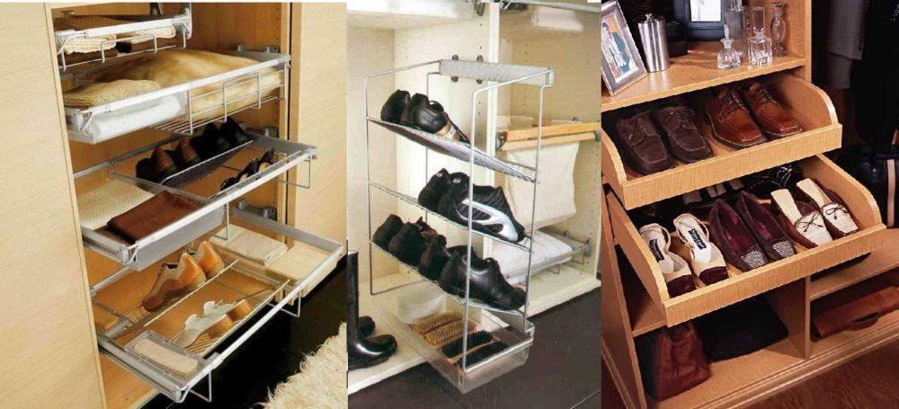 Полки с обувью в шкафу-купе