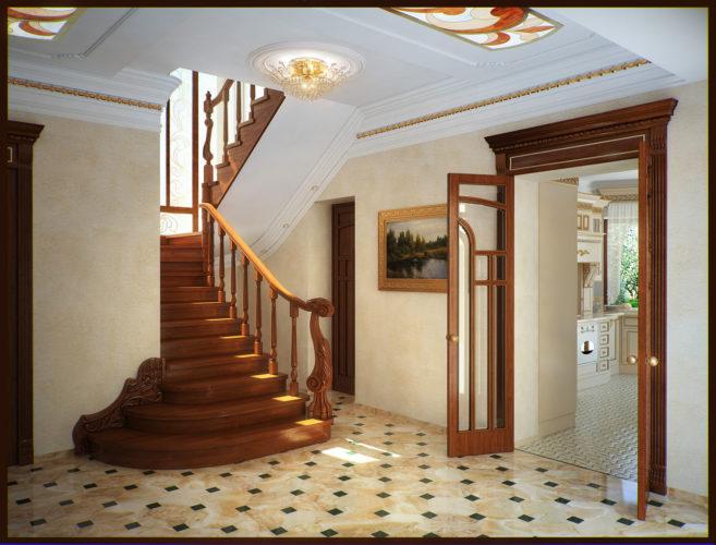 Холл с деревянной лестницей на второй этаж