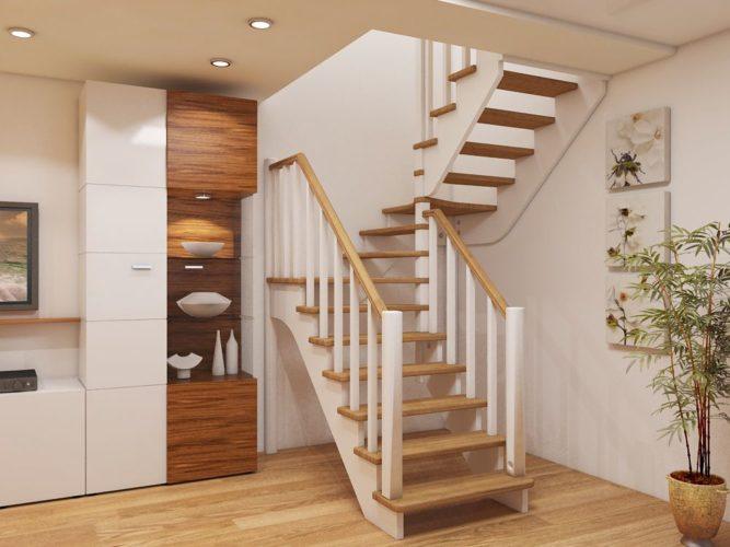 Небольшая гостиная с деревянной лестницей на второй этаж
