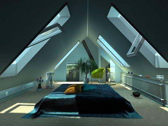Дизайн мансарды со спальней