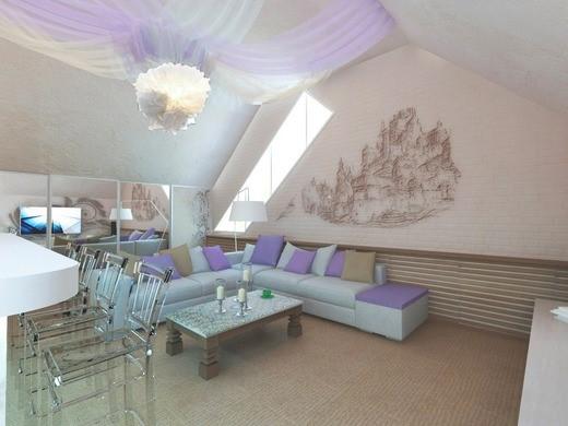 Гостиная со столовой зоной в мансарде