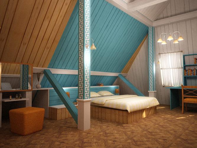 Дизайн спальни в спокойных тонах в мансарде