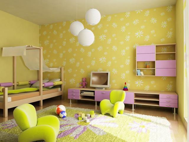 Желтые тона в детской комнате