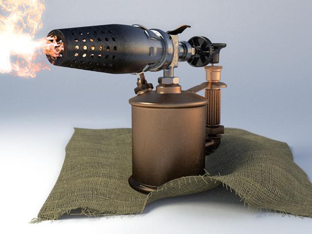 Для снятия краски с труб можно использовать паяльную лампу