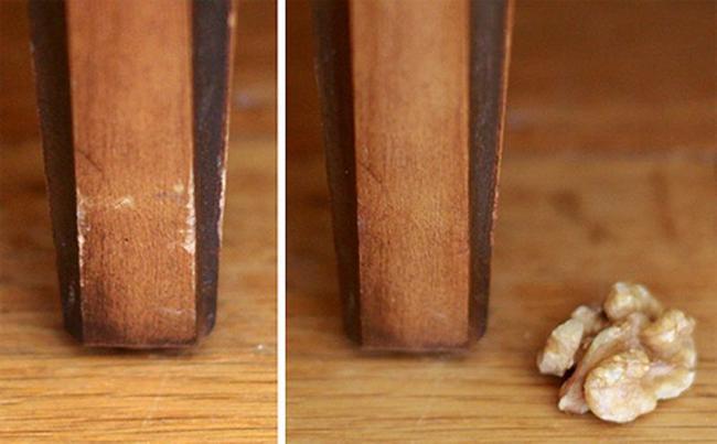 Если натереть доски орехом, то они потемнеют