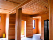 Потолок из деревянной вагонки