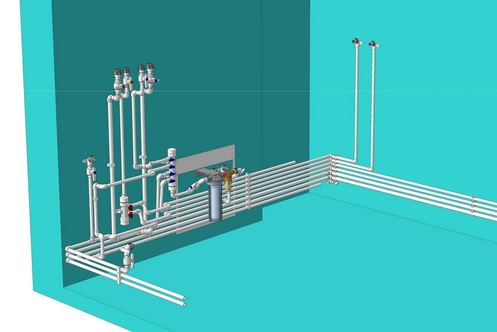 Разметке водопровода кухне