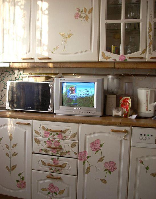 Декупаж мебели на кухне