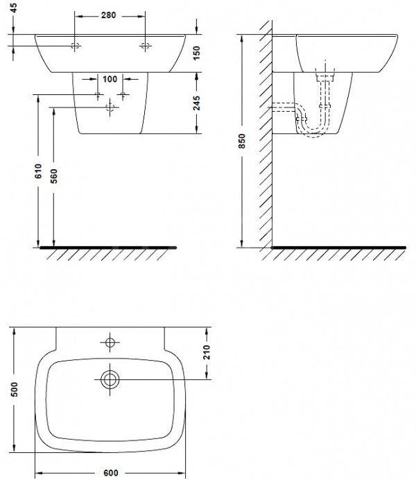 Схема установки полупьедестала (пример)