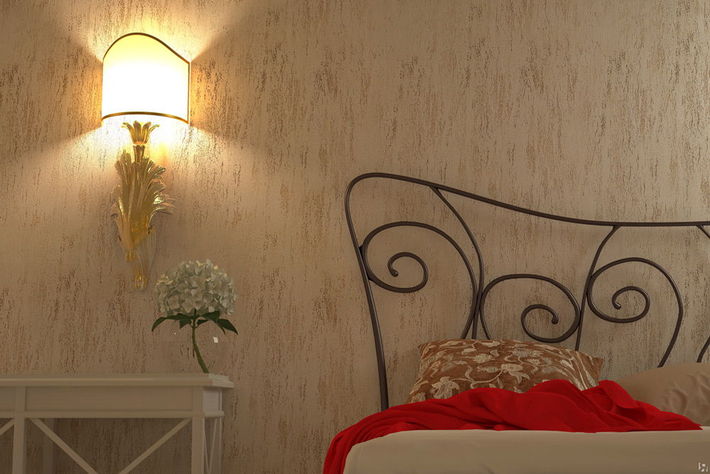 Стена с декоративной штукатуркой