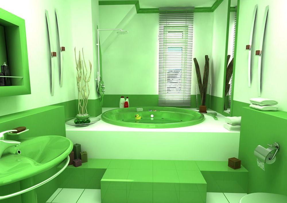 Ванная в зелёном цвете