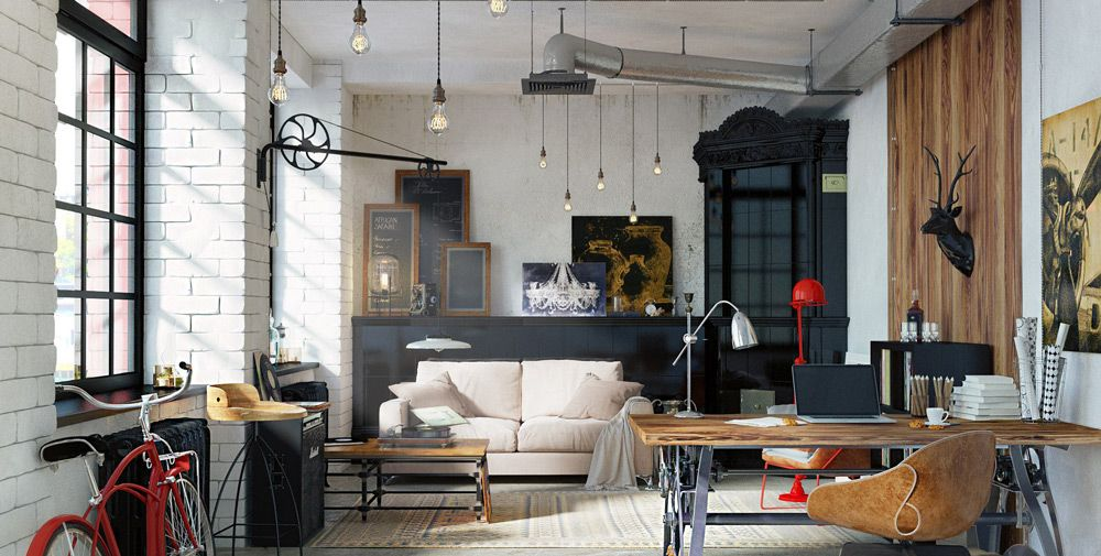 Квартира-студия в индустриальном стиле