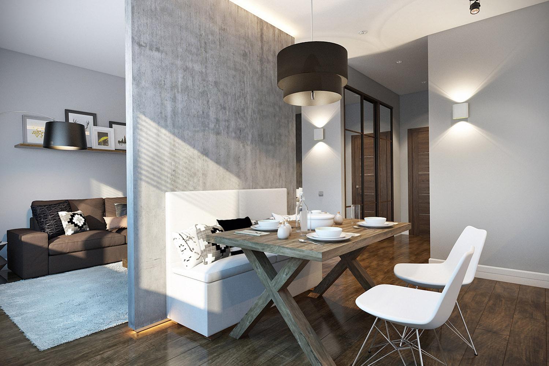 Кухня и комната квартиры в минимализме