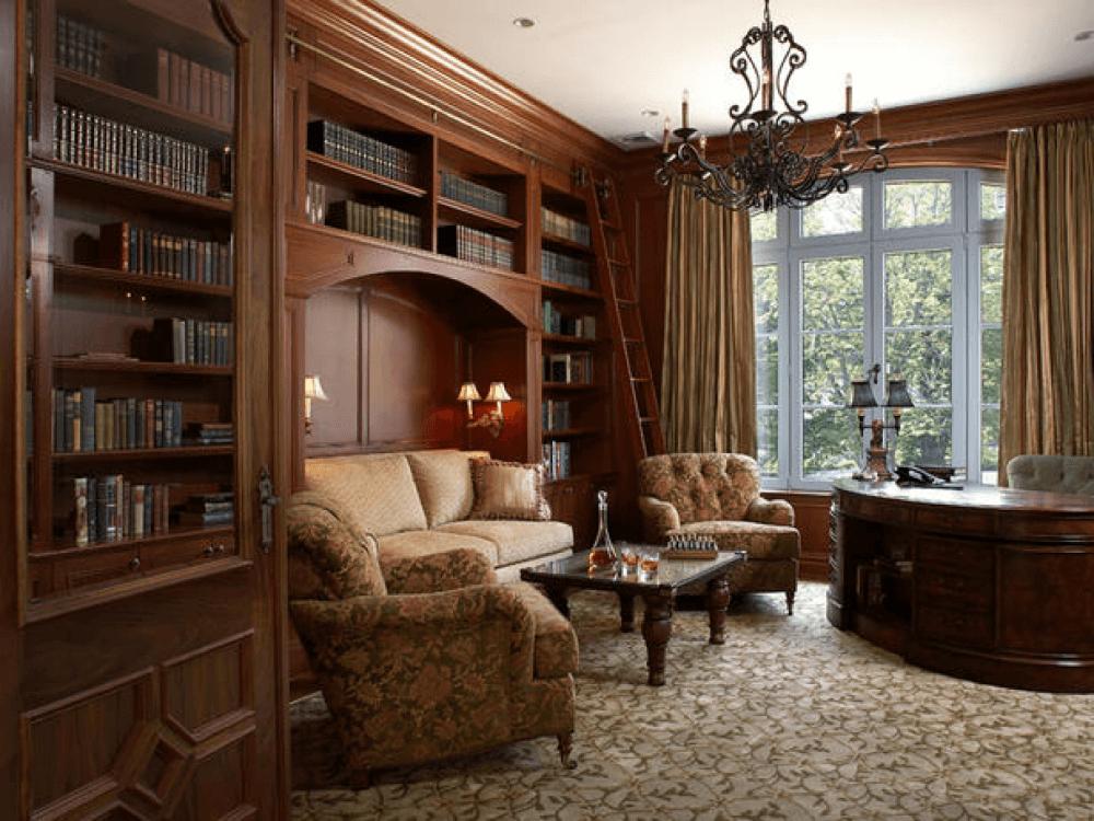 Домашняя библиотека в английском стиле
