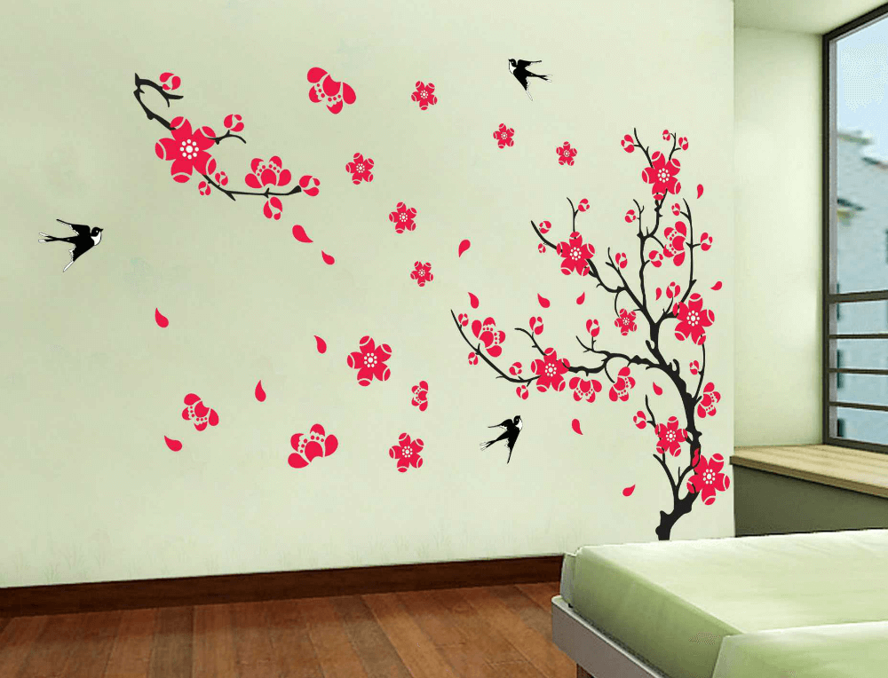 Узор на стене с декоративных наклеек