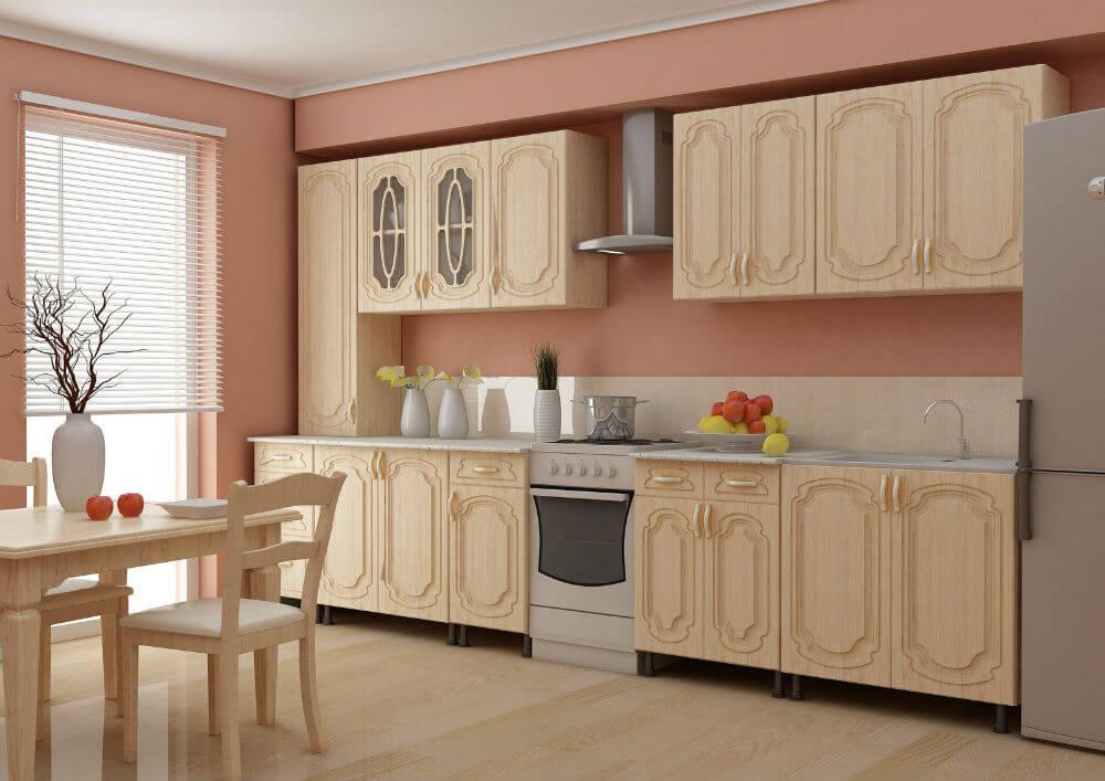 Деревянный фасад и стол на кухне