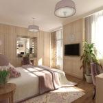 Дизайн спальни в эко-стиле в бежевых тонах