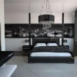Чёрно-белая спальня в стиле хай-тек