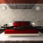 Необычный декор на потолке спальни