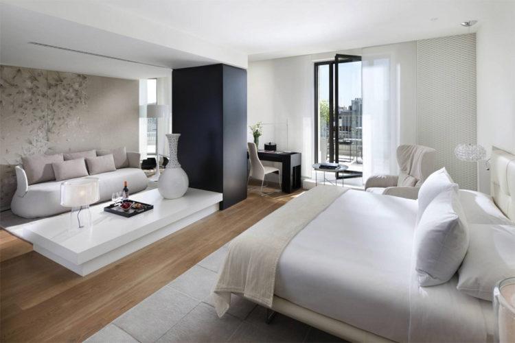 Белая спальня в стиле хай-тек