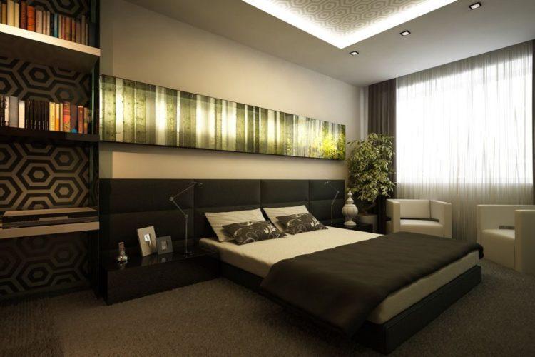 Спальня в современном стиле в спокойных тонах