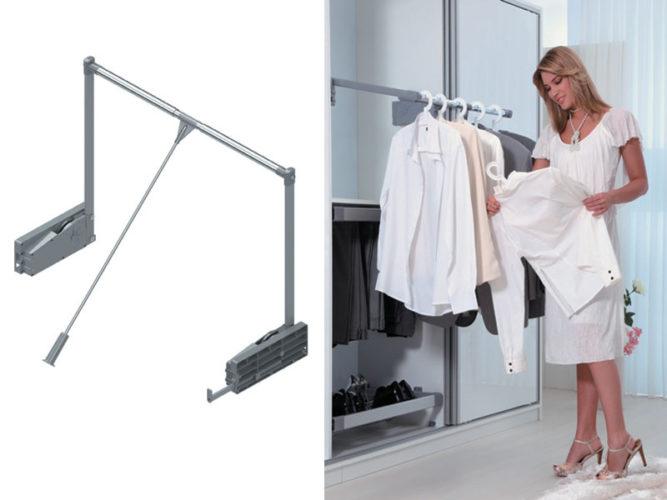 Штанга для размещения одежды на плечиках в шкафу-купе