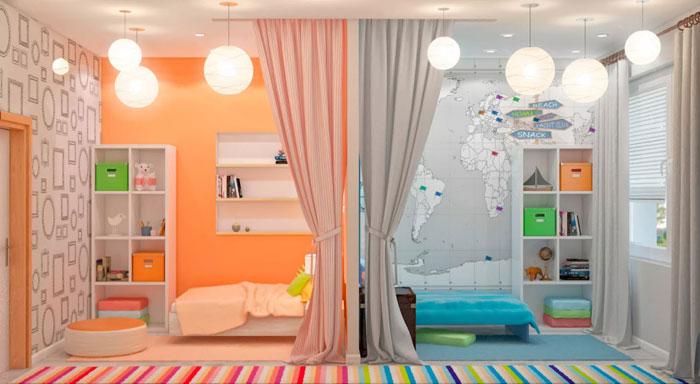 Детская комната с перегородками-шторами
