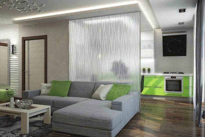 Зонирование квартиры-студии с помощью перегородки из матового стекла