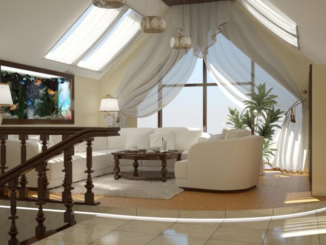 Дизайн гостиной в мансарде