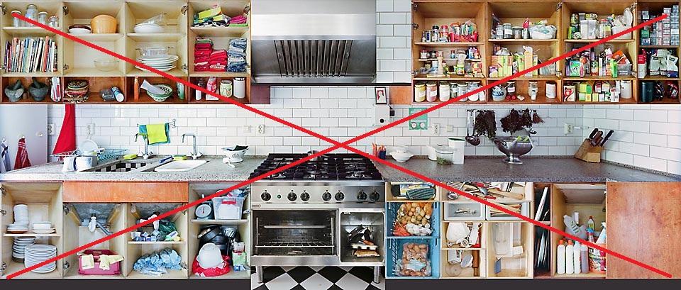 Нежелательный вариант хранения на кухне