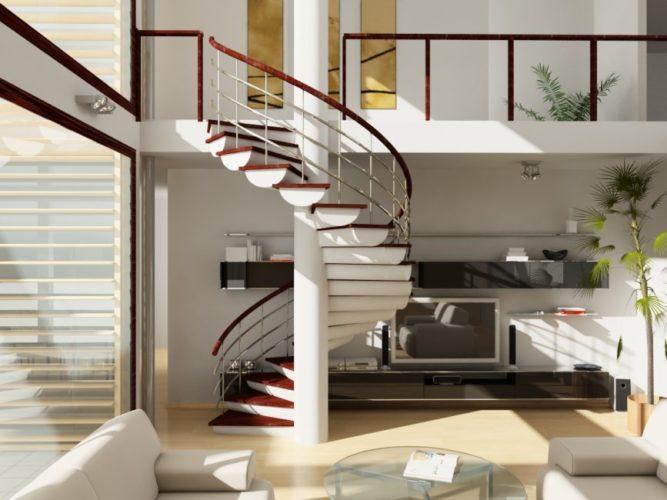 Винтовая лестница на второй этаж в доме