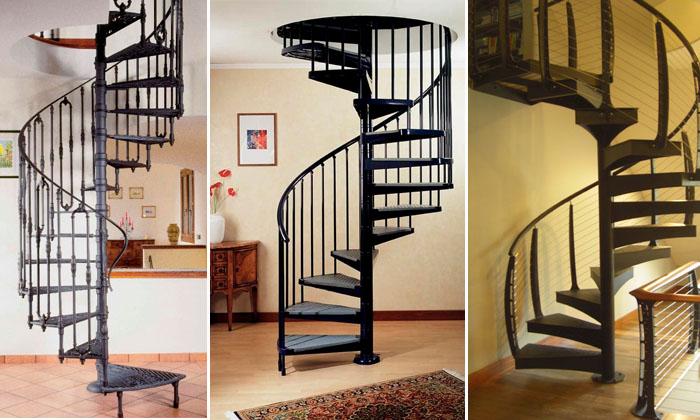 Винтовые лестницы из металла на второй этаж