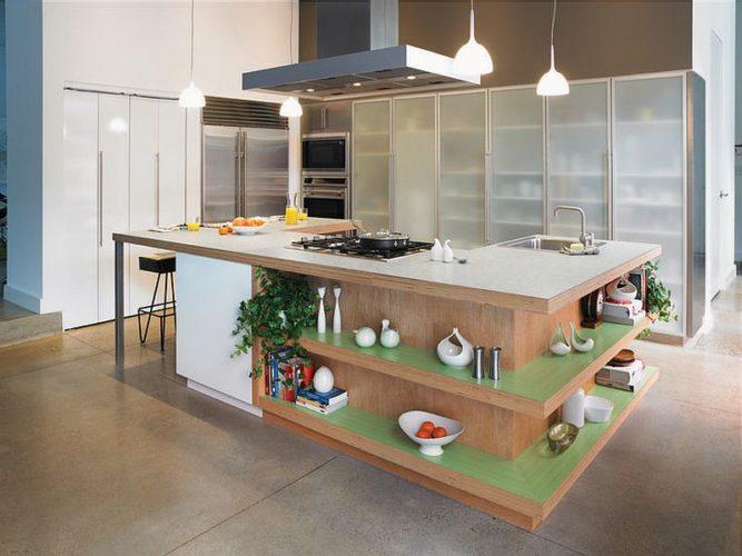 Кухонный остров с плитой
