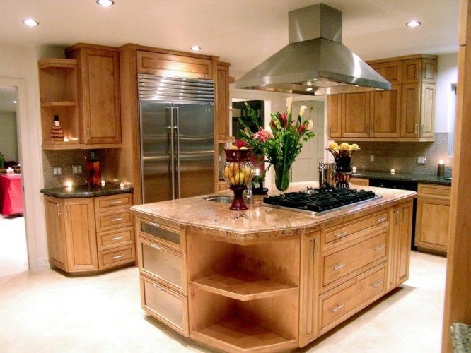 Остров на кухне с плитой