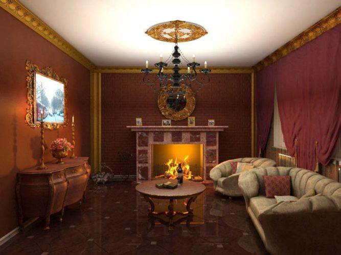 Гостиная с камином и массивной мебелью