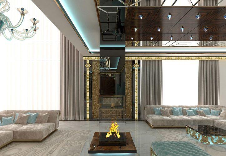 Камин из огнеупорного стекла в большой гостиной