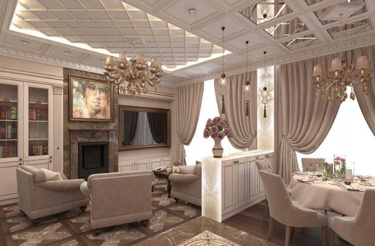 Большая гостиная в стиле неоклассика