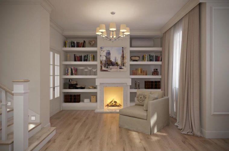 Холл-гостиная в белых тонах с камином