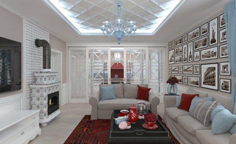 Гостиная в современном стиле с камином